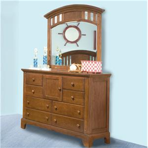 American Woodcrafters Bradford Youth Dresser & Mirror Combo