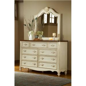 American Woodcrafters Chateau Triple Front Nine-Drawer Dresser and Mirror