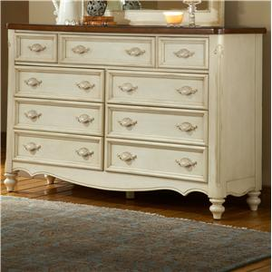 Nine Drawer Triple Front Dresser