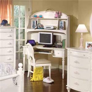 American Woodcrafters Cheri Vanity Desk & Hutch