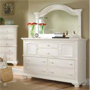 American Woodcrafters Cottage Traditions Dresser and Mirror Combo