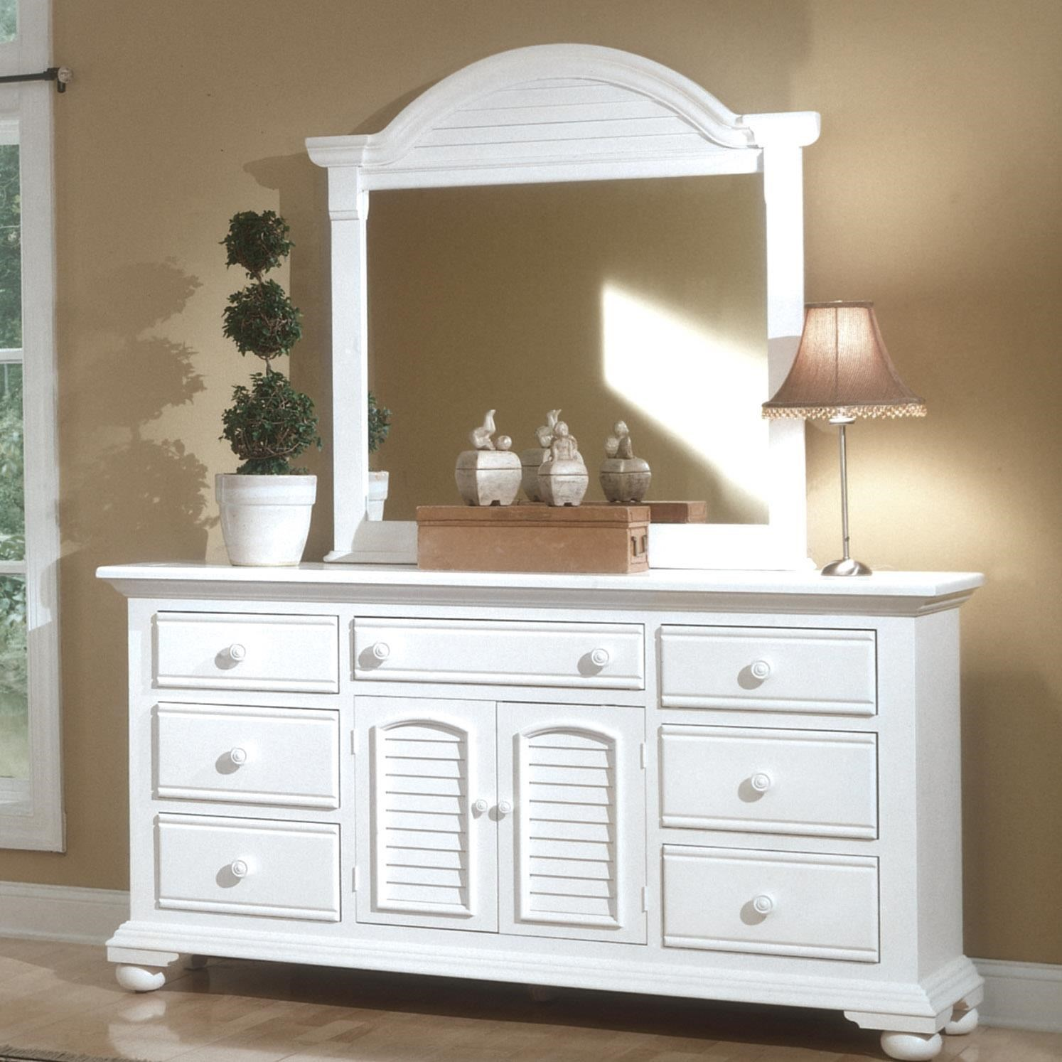 Cottage Traditions Triple Dresser and Mirror Combo by American Woodcrafters at Johnny Janosik