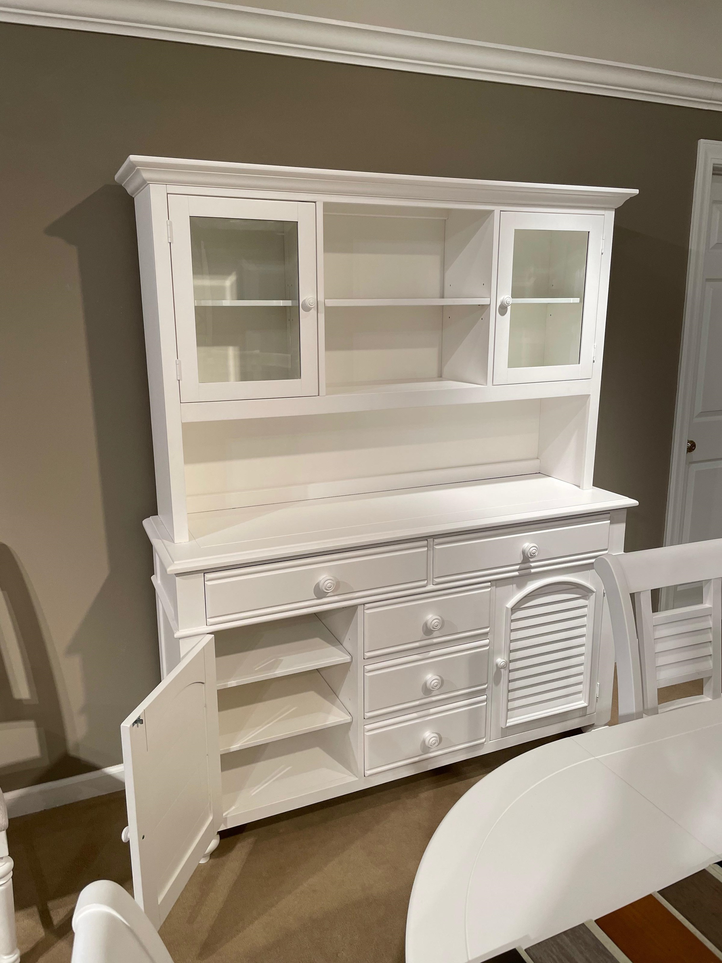Cottage Traditions Server and Hutch by American Woodcrafters at Johnny Janosik