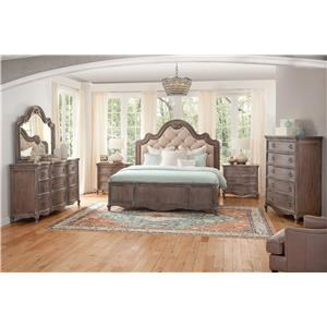 King Upholstered Bed with Dresser, Mirror, and Nightstand