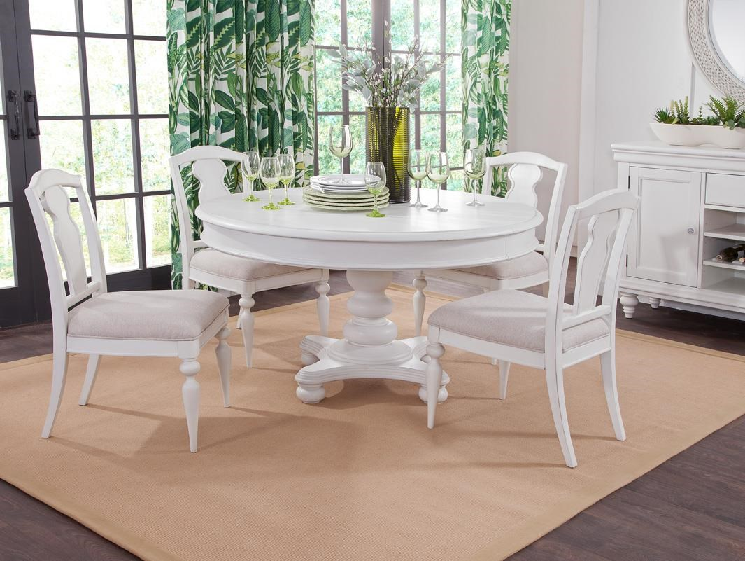 Rodanthe Oval Pedestal Table and Slatback Chairs by American Woodcrafters at Johnny Janosik