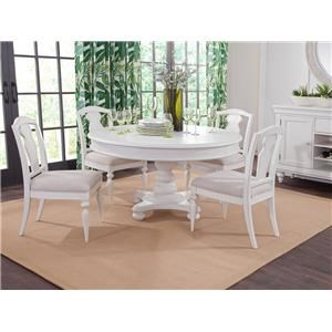 Oval Pedestal Table and Slatback Chairs