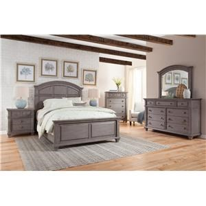 King Panel Bed with Dresser, Mirror, and Nightstand