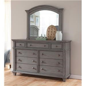 Nine Drawer Dresser with Landscape Mirror