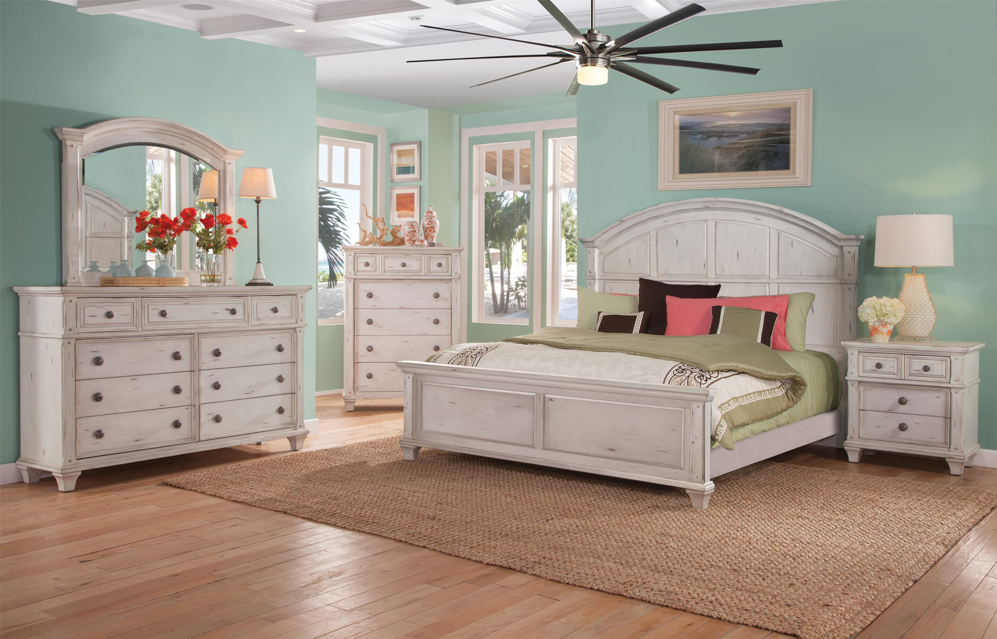 Queen Panel Bed, Dresser, Mirror, Nightstand in Cobblestone White Finish