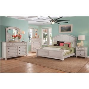 King Panel Bed, Dresser, Mirror, Nightstand in Cobblestone White Finish