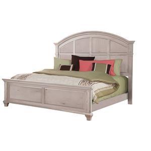 Queen Panel Bed in Cobblestone White Finish