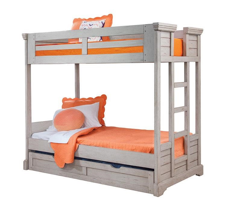 Stonebrook Youth in Antique Gray Twin Bunk Bed by American Woodcrafters at Johnny Janosik