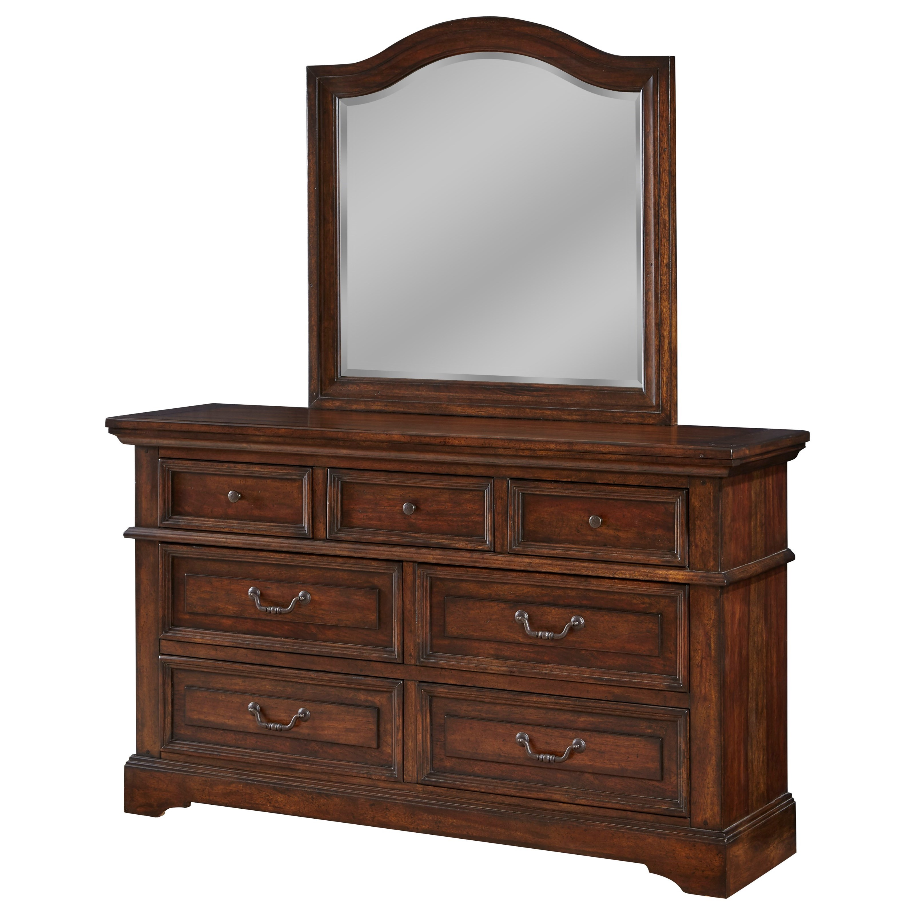 Stonebrook Dresser and Mirror Set by American Woodcrafters at Johnny Janosik