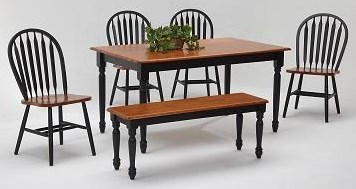 Farmhouse and Traditional Windsor Rectangular Farmhouse table set by Amesbury Chair at Dinette Depot