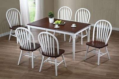 Farmhouse white and chestnut Rectangular Farmhouse table set by Amesbury Chair at Dinette Depot