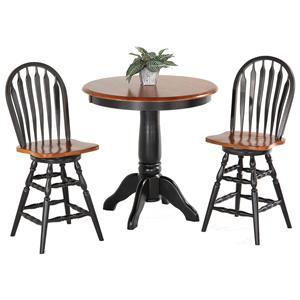 Amesbury Chair Pub Sets 3-Piece Solid Hardwood Pub Table Set