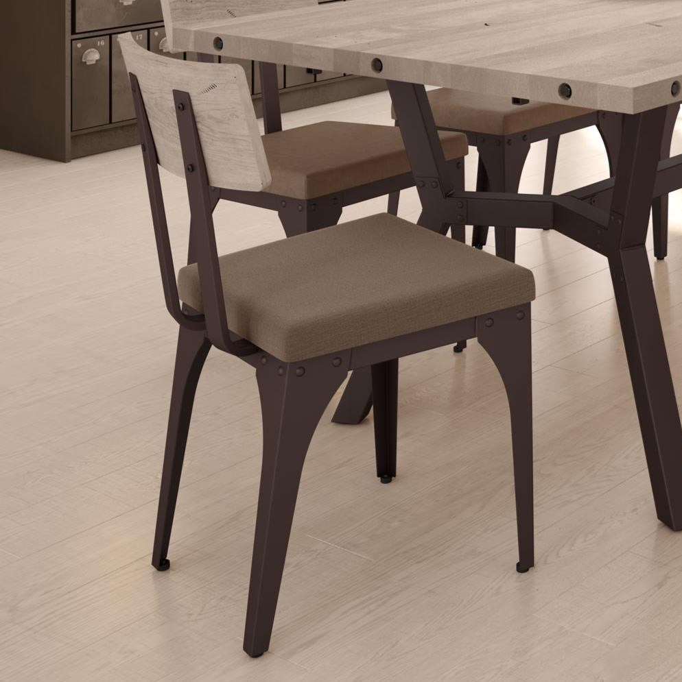 Industrial Architect Chair with Upholstered Seat by Amisco at Jordan's Home Furnishings