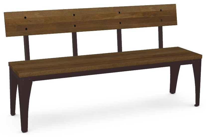 Industrial Customizable Architect Wood Bench by Amisco at Crowley Furniture & Mattress