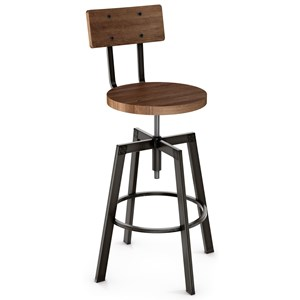 Architect Stool with Wooden Seat and Back