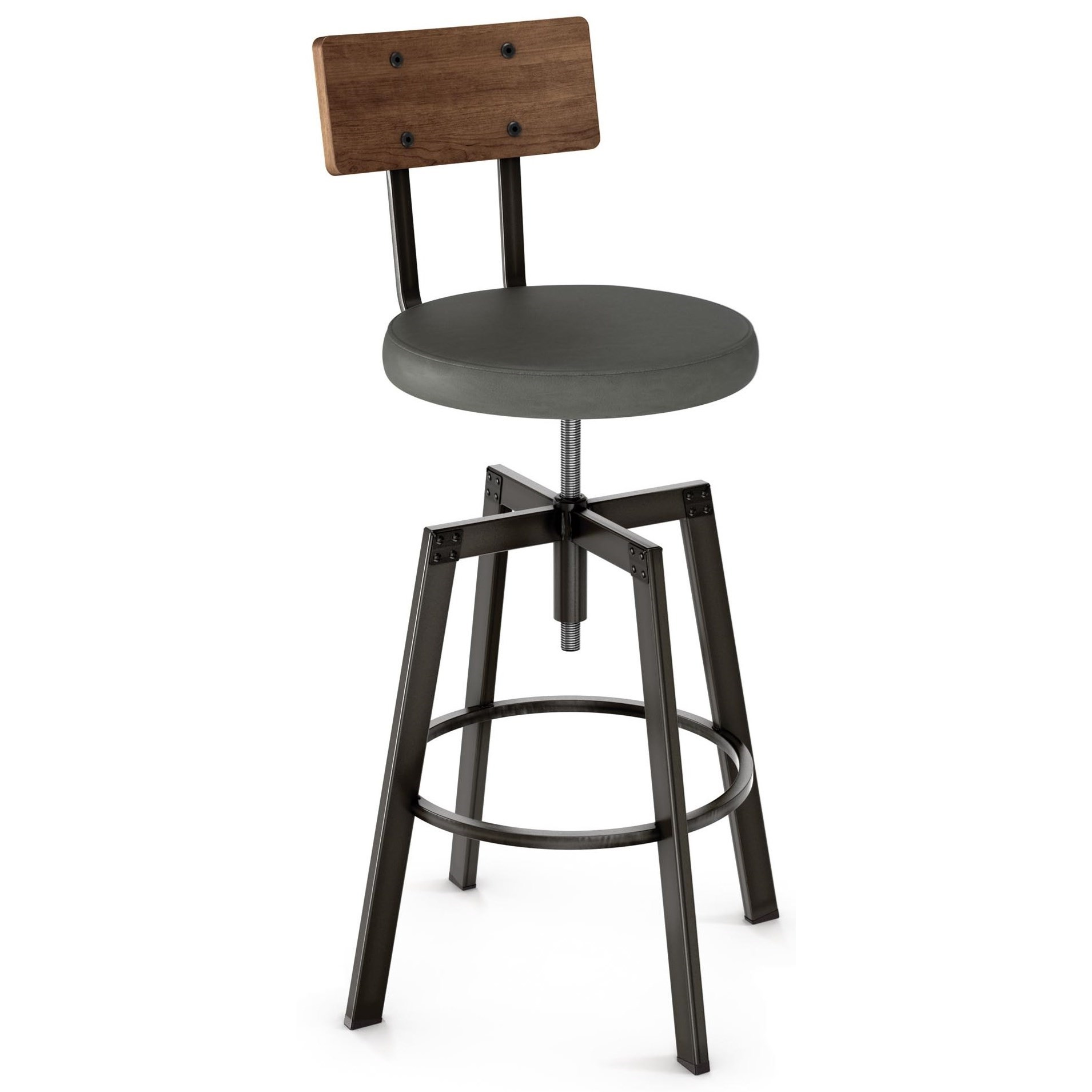 Industrial Architect Stool with Upholstered Seat by Amisco at Saugerties Furniture Mart