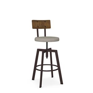 Architect Stool with Upholstered Seat and Wooden Back