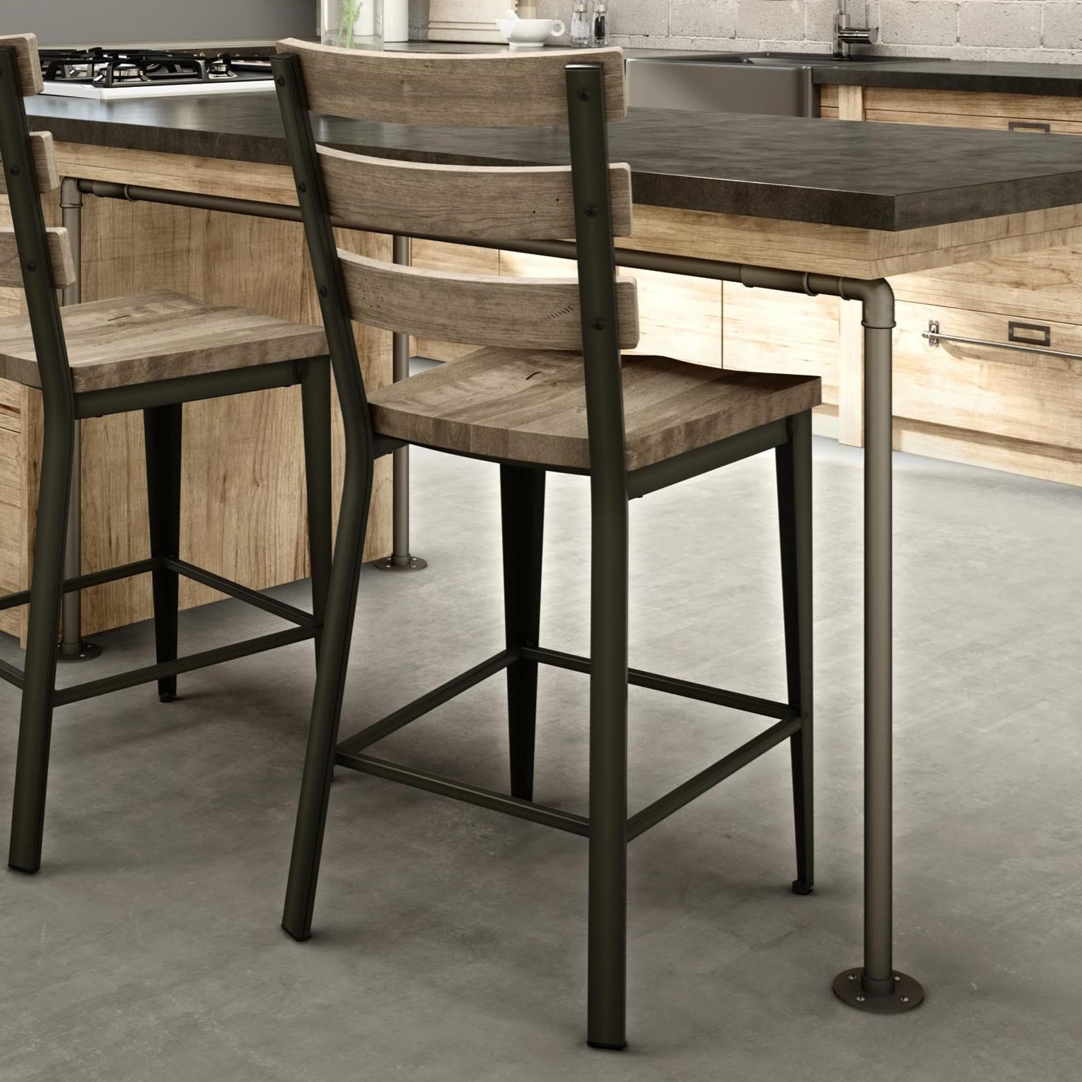 "Industrial 26"" Dexter Counter Stool with Wood Seat by Amisco at Dinette Depot"