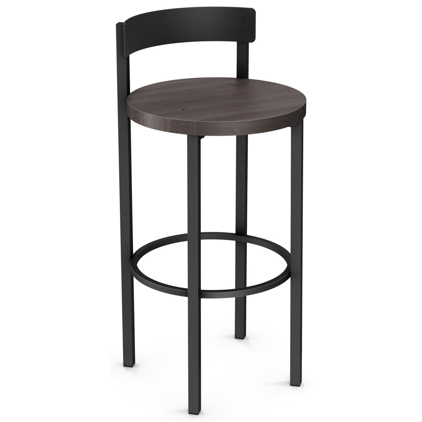 """Industrial 30"""" Zoe Bar Stool with Wood Seat by Amisco at Rooms and Rest"""