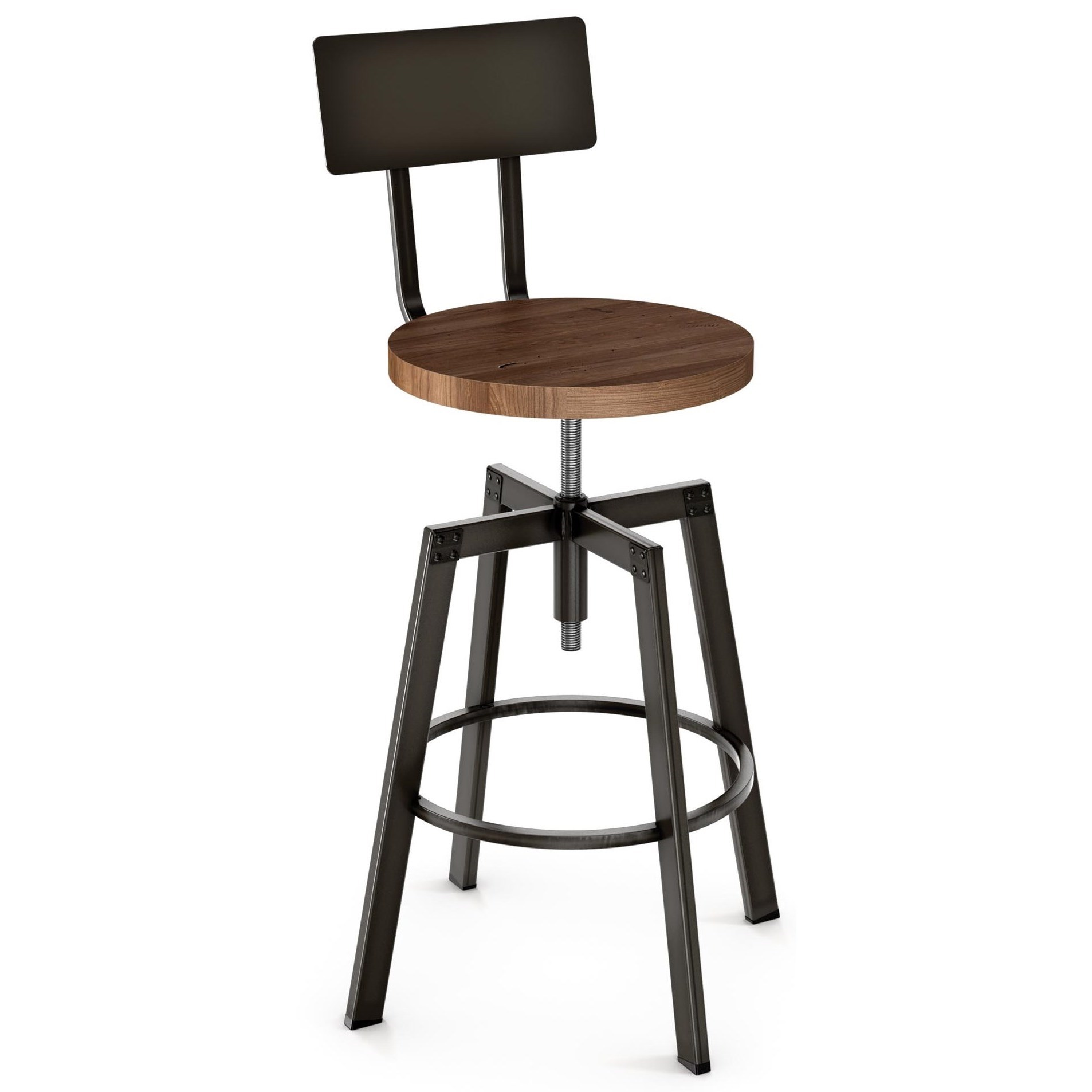 Industrial Architect Screw Stool by Amisco at Saugerties Furniture Mart