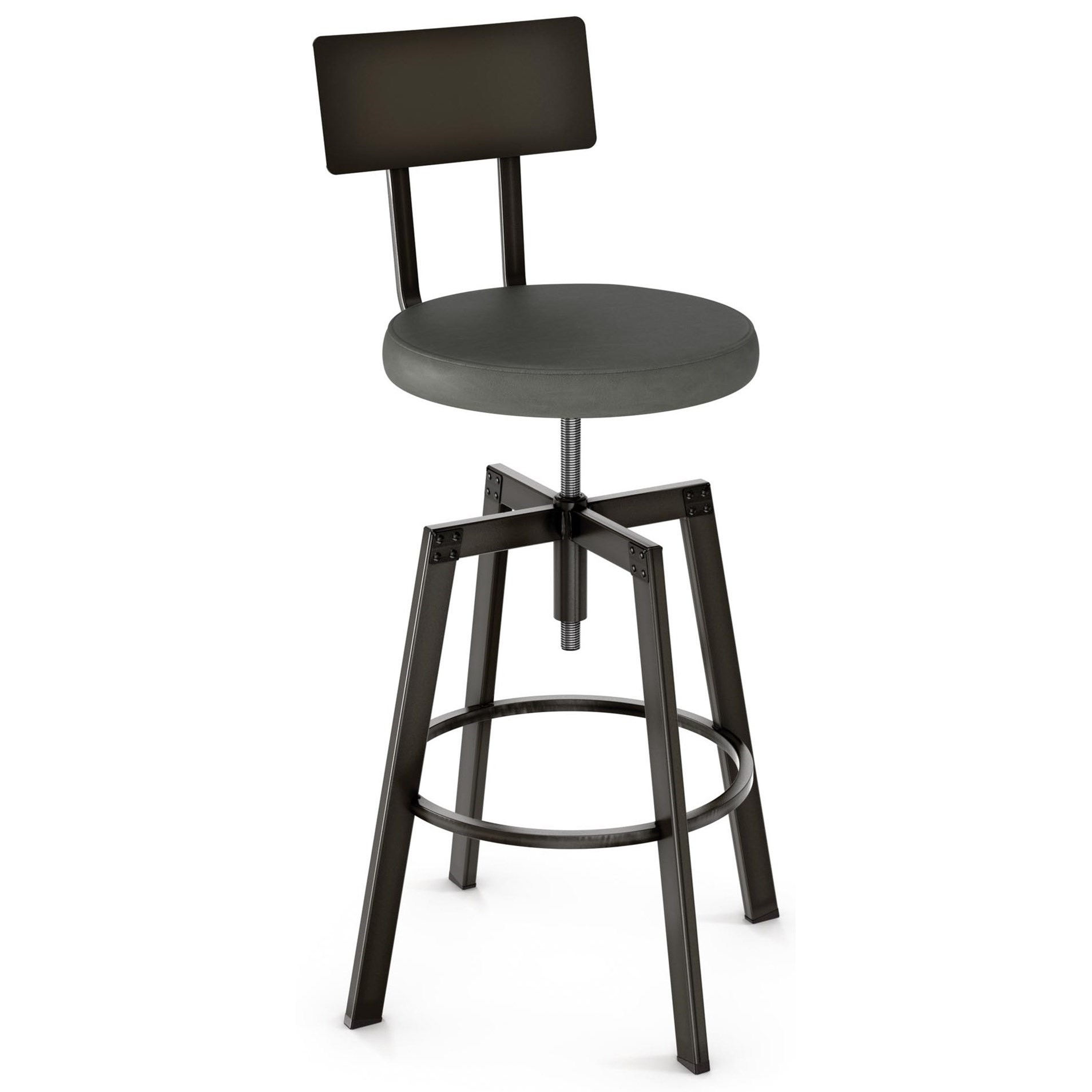 Industrial Architect Screw Stool with Cushion Seat by Amisco at Upper Room Home Furnishings