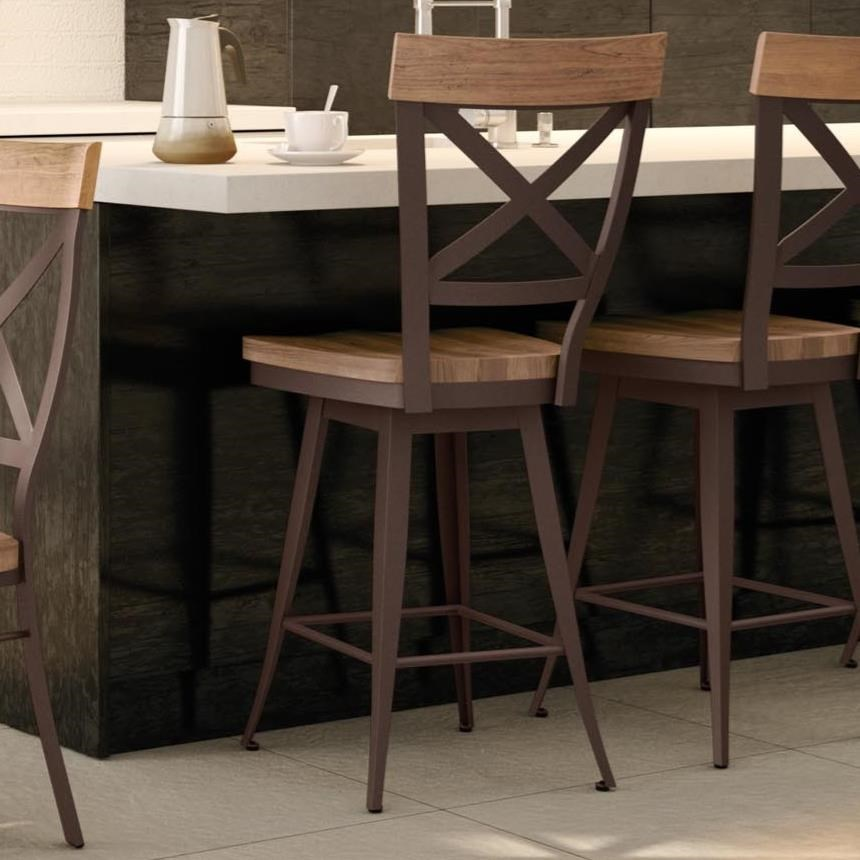 """Industrial 26"""" Kyle Swivel Stool with Wood Seat by Amisco at Saugerties Furniture Mart"""
