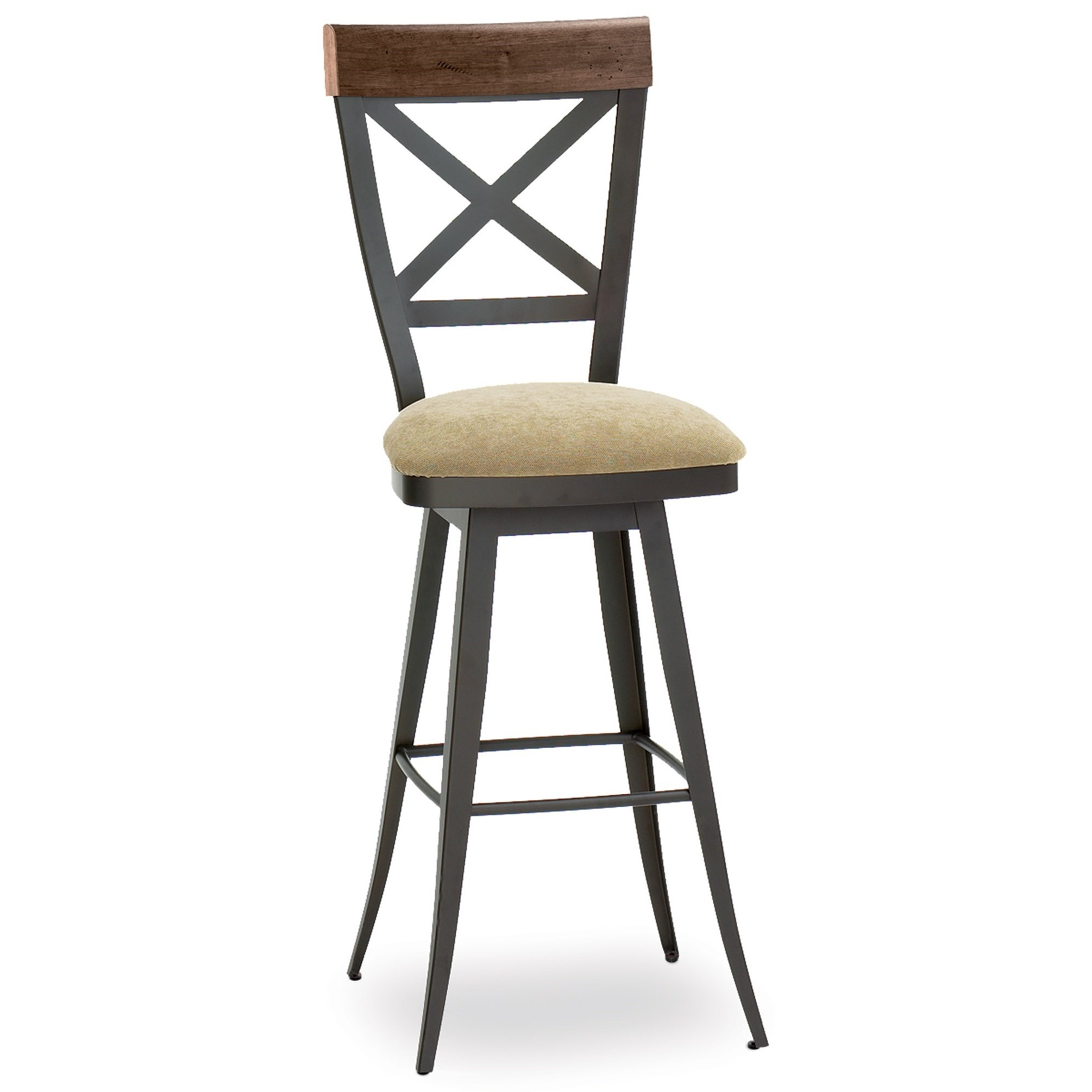 """Industrial 30"""" Kyle Swivel Stool with Upholstered Seat by Amisco at Saugerties Furniture Mart"""