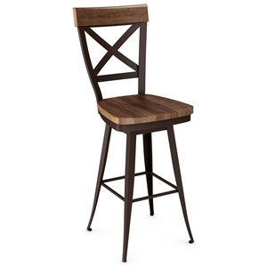 """30"""" Kyle Swivel Stool with Wood Seat"""