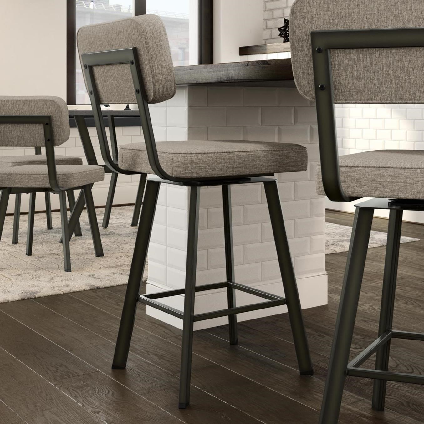 Industrial Brixton Swivel Stool, Counter Height by Amisco at Dinette Depot