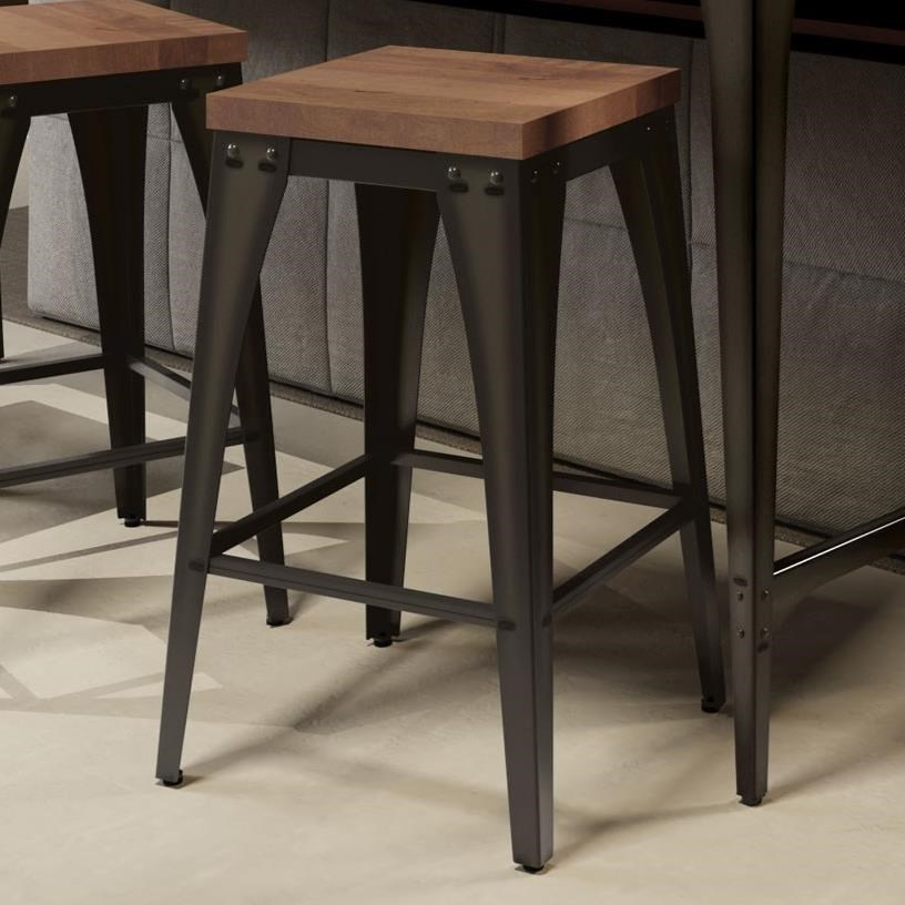 """Industrial 26"""" Upright Stool with Wood Seat by Amisco at Rooms and Rest"""
