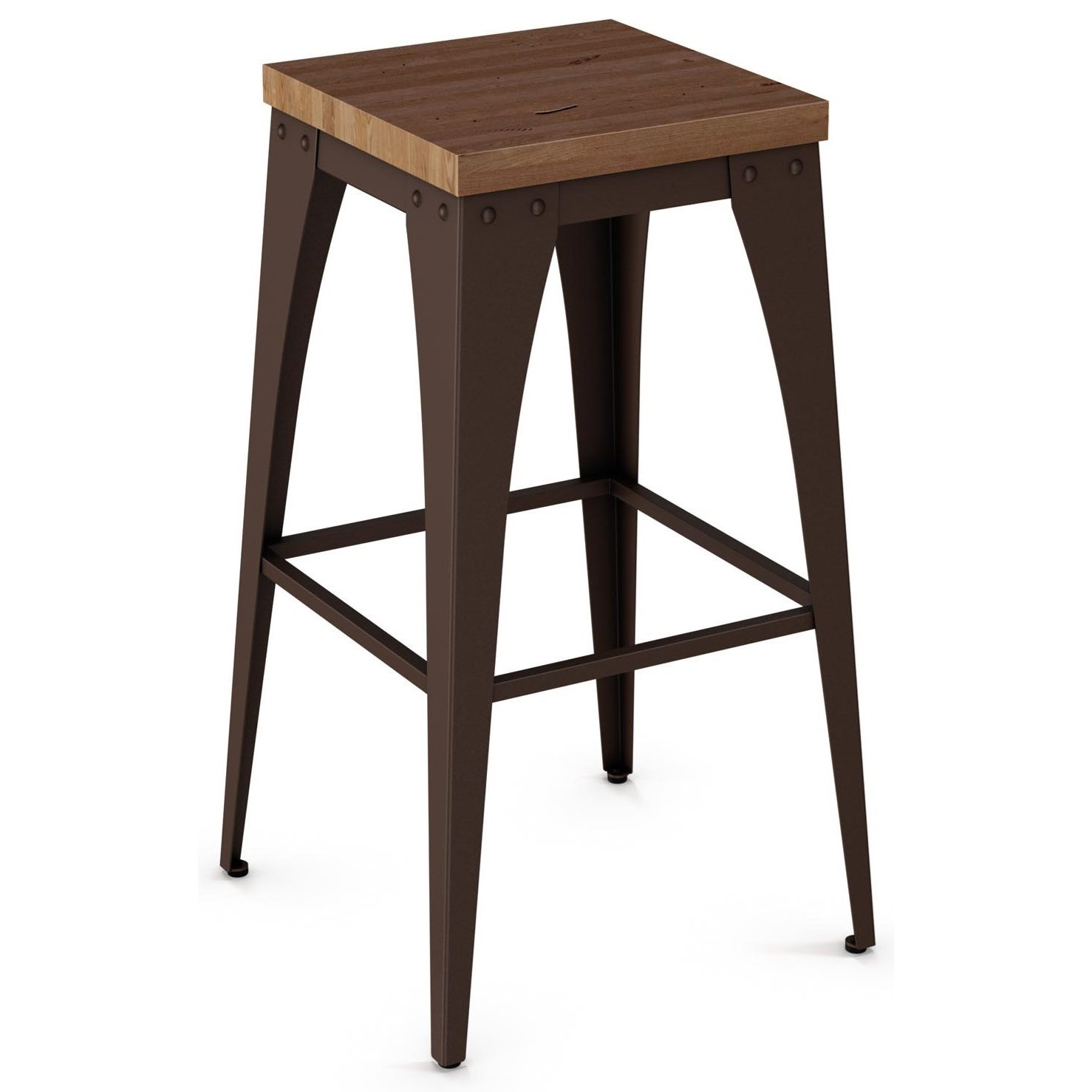 """Industrial 30"""" Upright Stool with Wood Seat by Amisco at Rooms and Rest"""