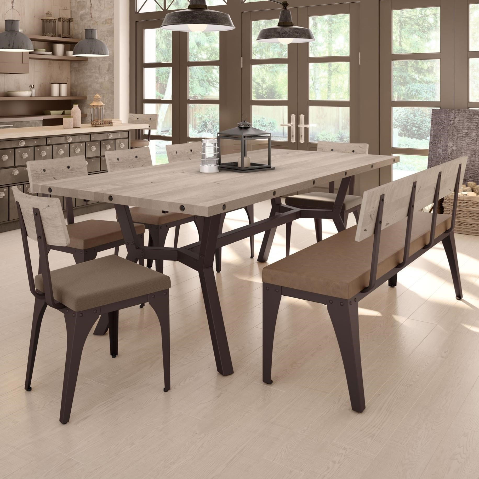 Industrial Southcross Dining Table Set with Bench by Amisco at SuperStore