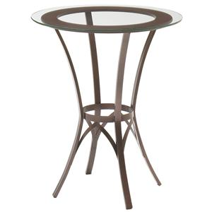 Round Bar Height Pub Table with Glass Top and Interlaced Metal Base