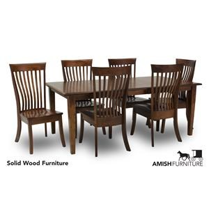 7 Piece Dining Set with Slat Back Chairs