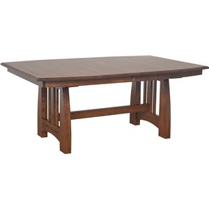 Trestle Dining Table with Ebony Wood Inlays