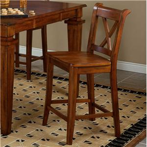 """APA by Whalen Cornwall """"X"""" Back Barstool with Wood Seat"""