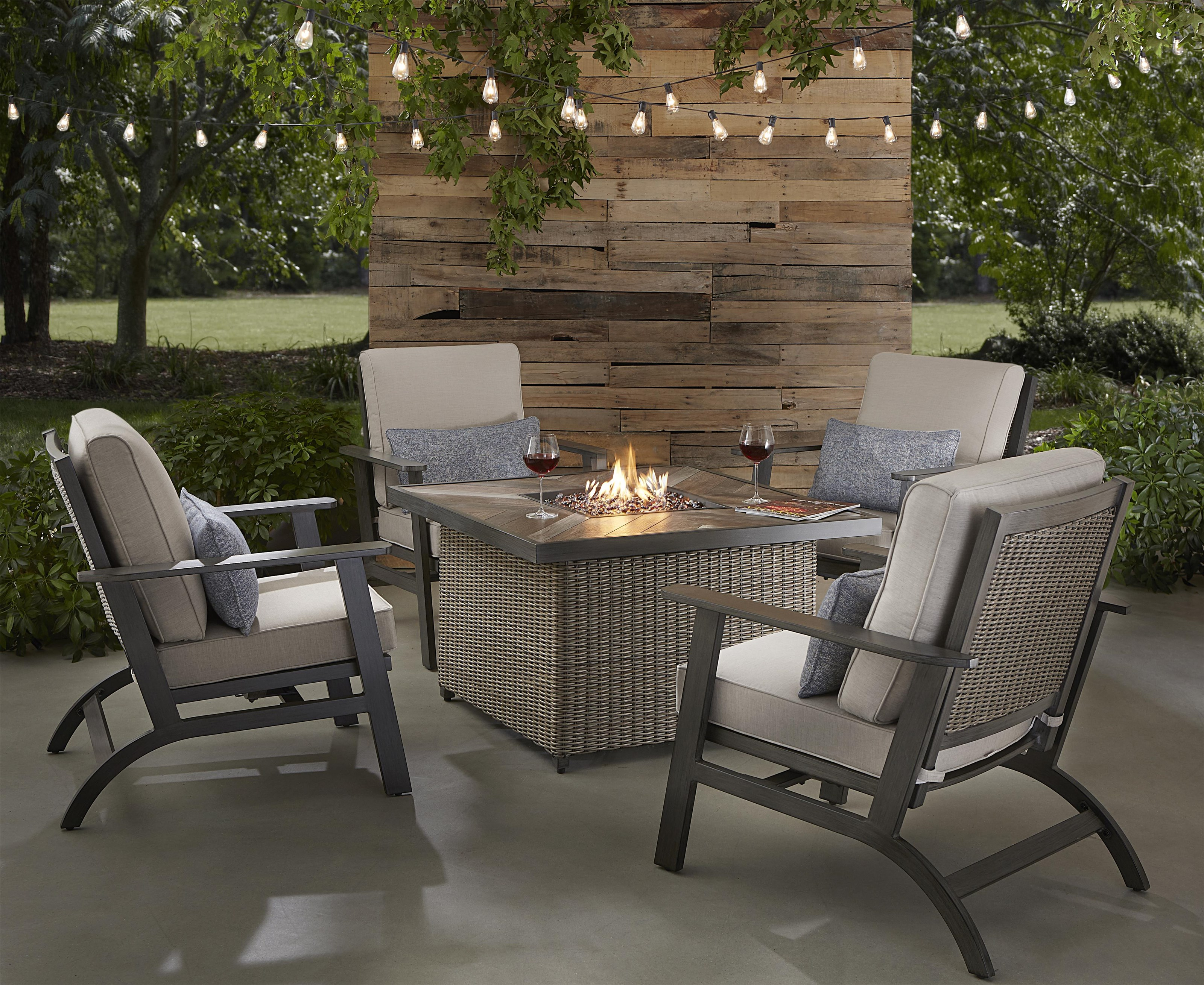 Adison Firepit and 4 Spring Chairs by Apricity Outdoor at Johnny Janosik
