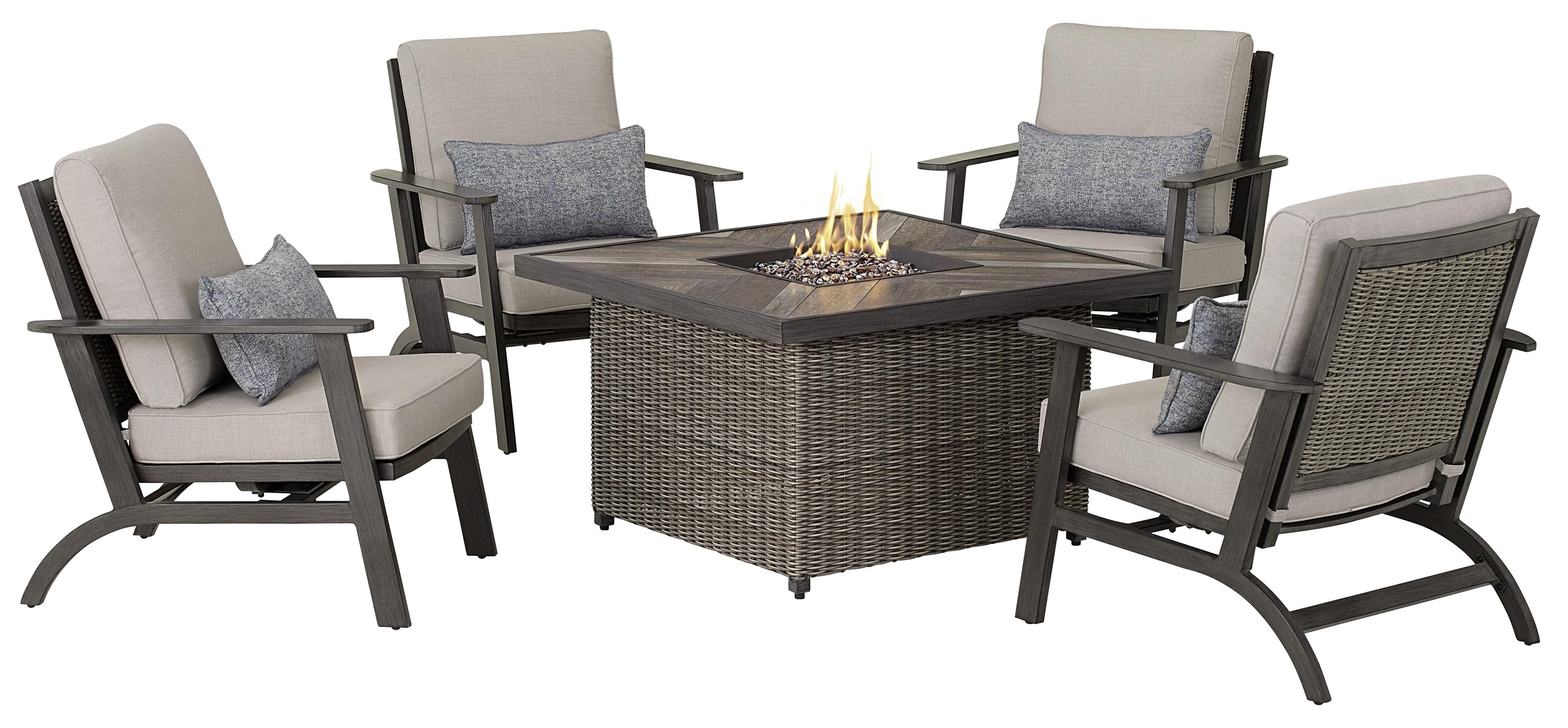 Addison Firepit and 4 Motion Chairs by Apricity Outdoor at Johnny Janosik