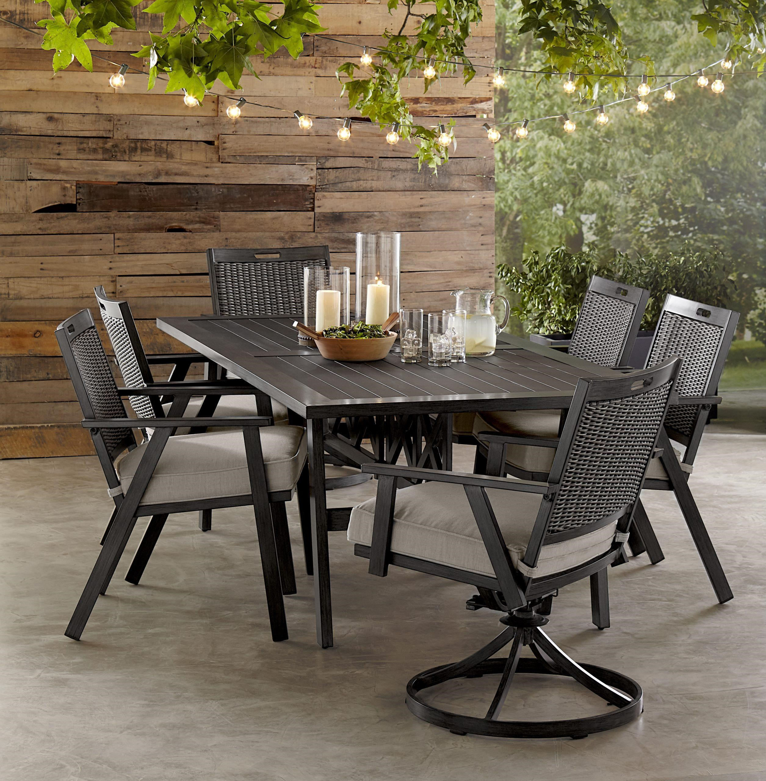 Adison Dining Table, 4 Chairs, 2 Swivel Chair by Apricity Outdoor at Johnny Janosik