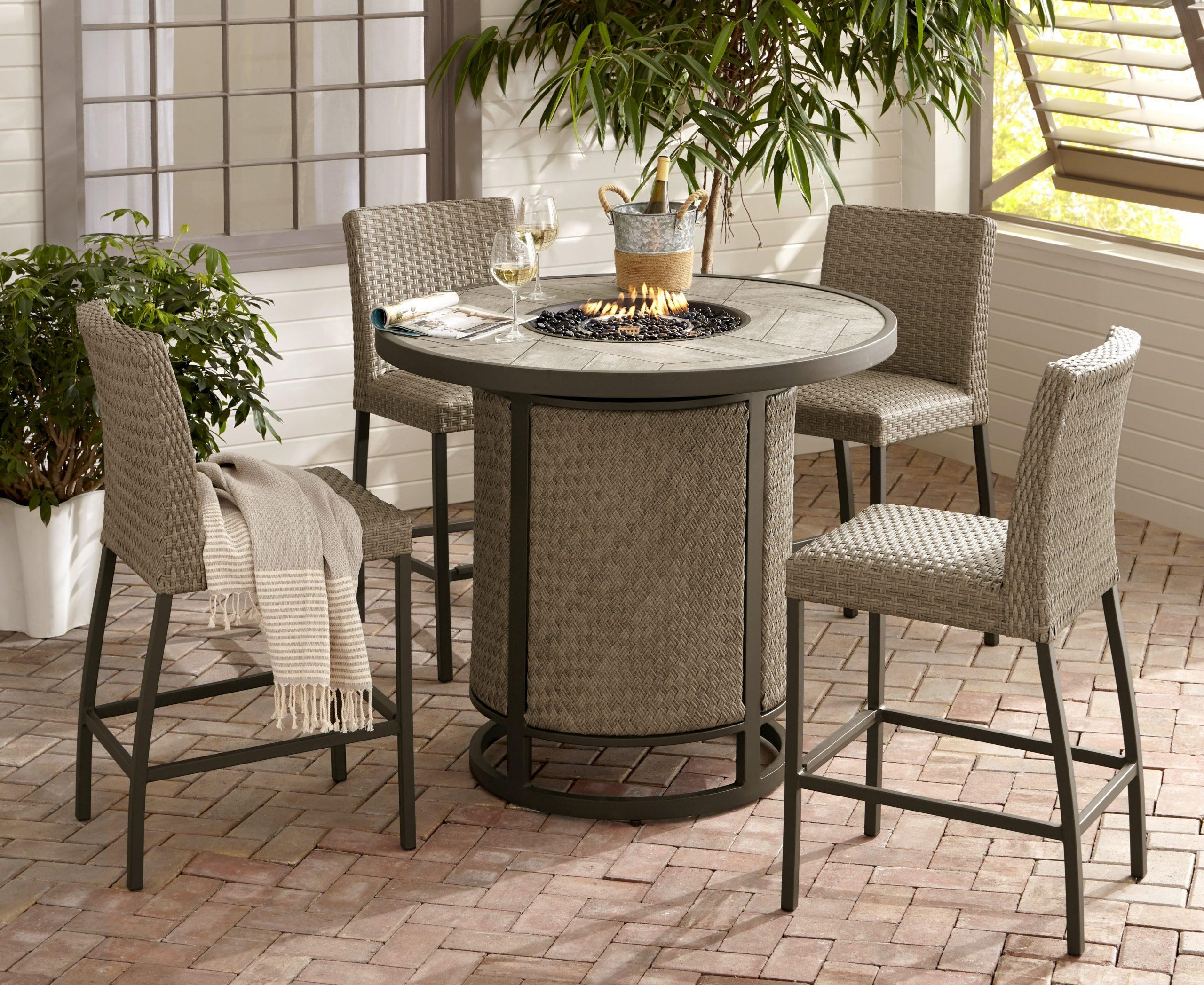 Ellery 44 Inch Firepit and 4 Counter Stools by Apricity Outdoor at Johnny Janosik