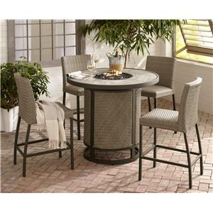 44 Inch Counter Height Firepit and 4 Counter Stools