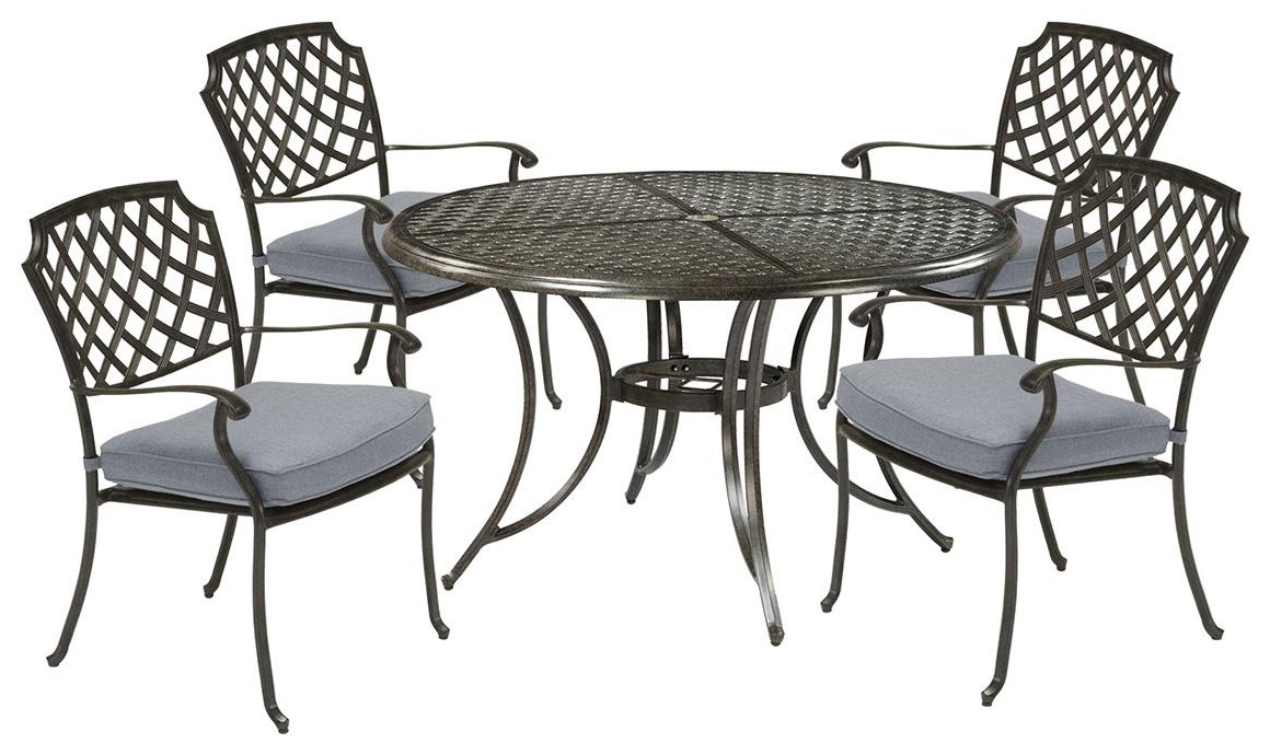Madison 48 Inch Round Table and 4 Dining Chairs by Apricity Outdoor at Johnny Janosik
