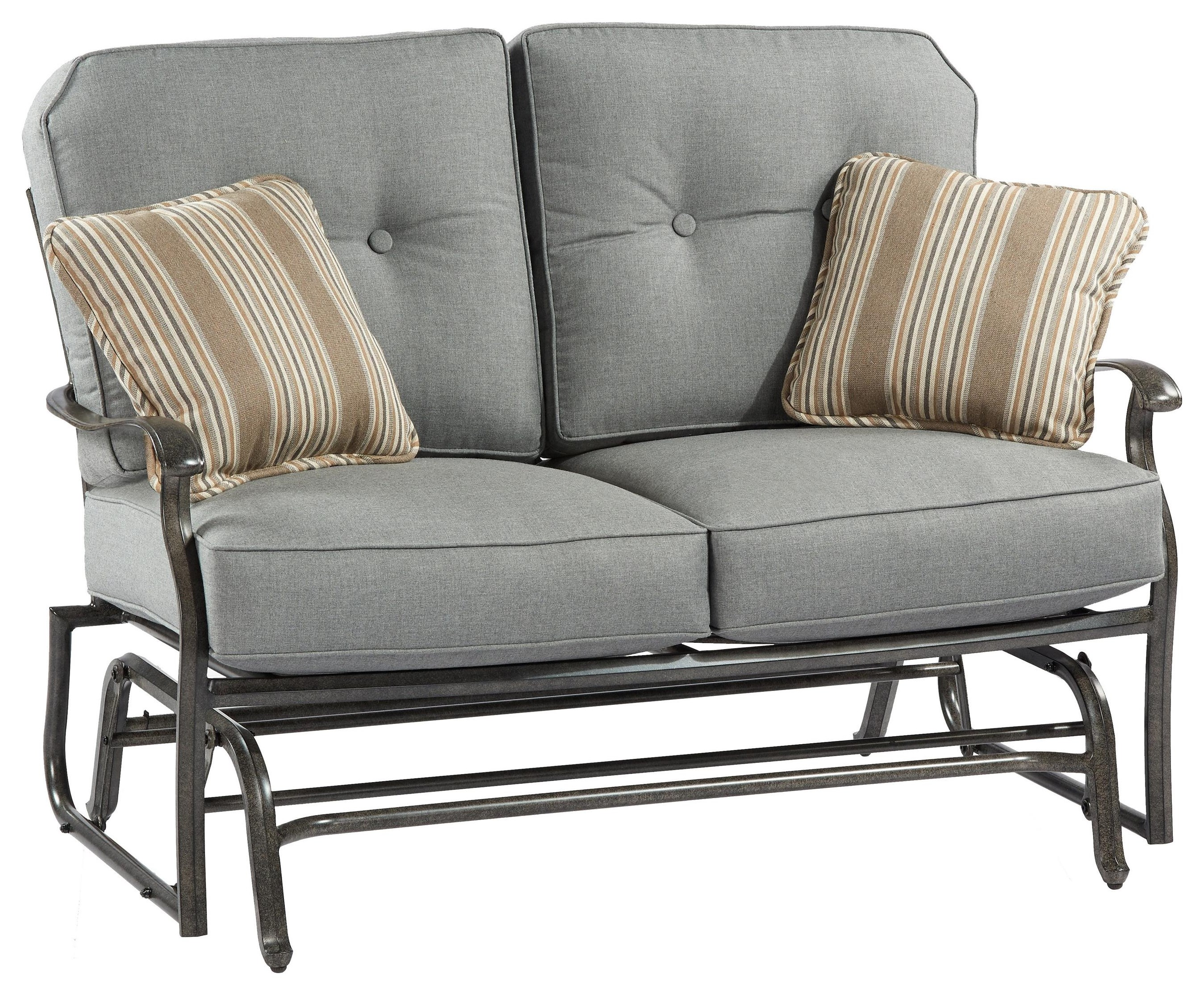Madison LOVESEAT GLIDER With 2 Pillows by Apricity Outdoor at Johnny Janosik
