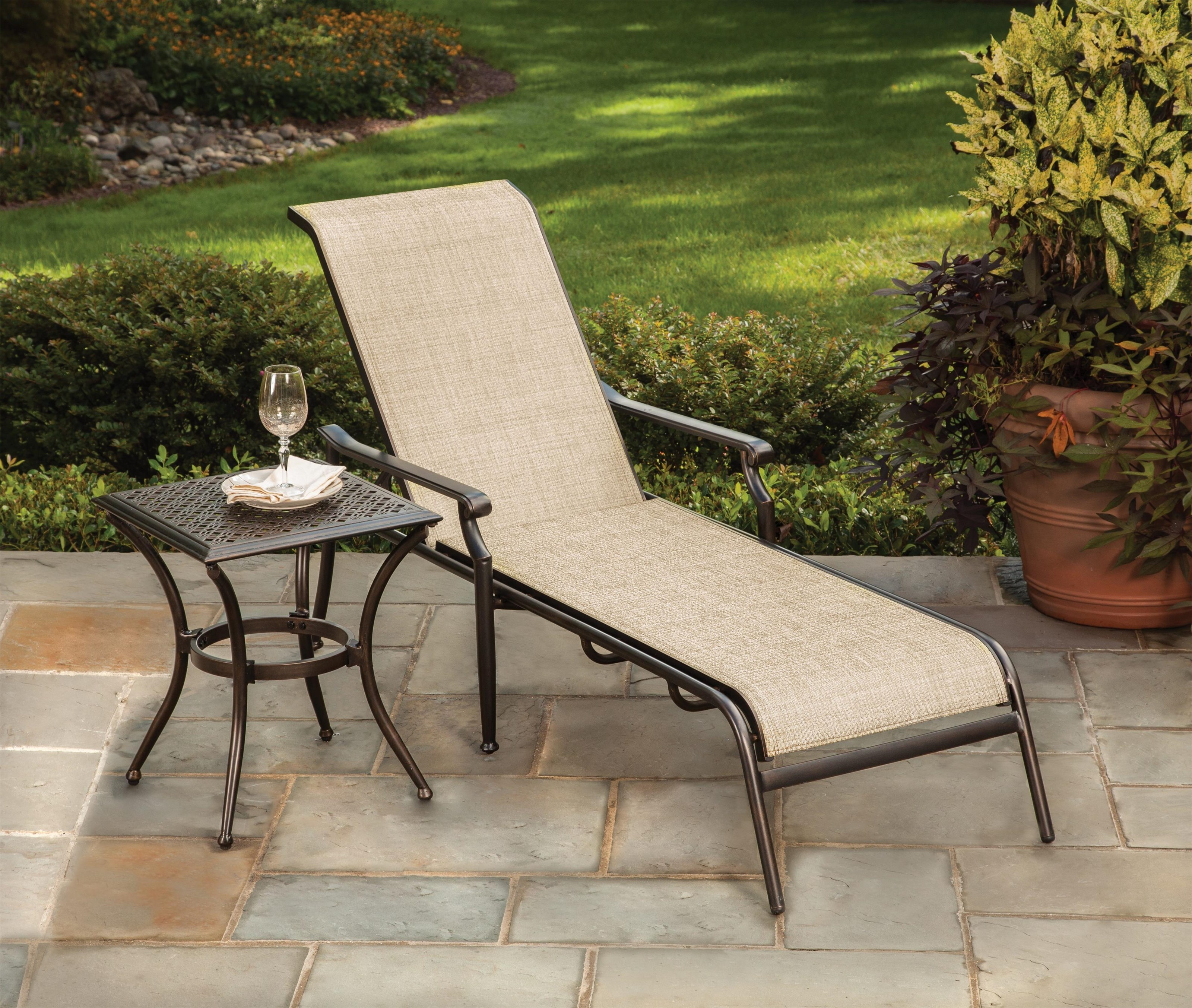 Manhattan Sling Chaise Lounge by Apricity Outdoor at Johnny Janosik