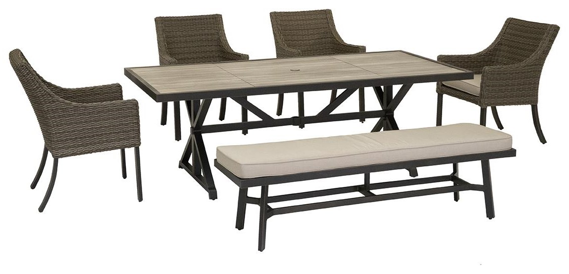 Oak Grove 84 Inch Table, Chairs and Dining Bench by Apricity Outdoor at Johnny Janosik