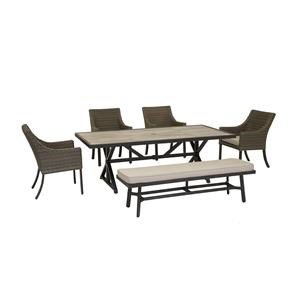 84 Inch Table, 4 Dining Chairs and Dining Bench